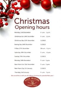 CHRISTMAS OPENING HOURS